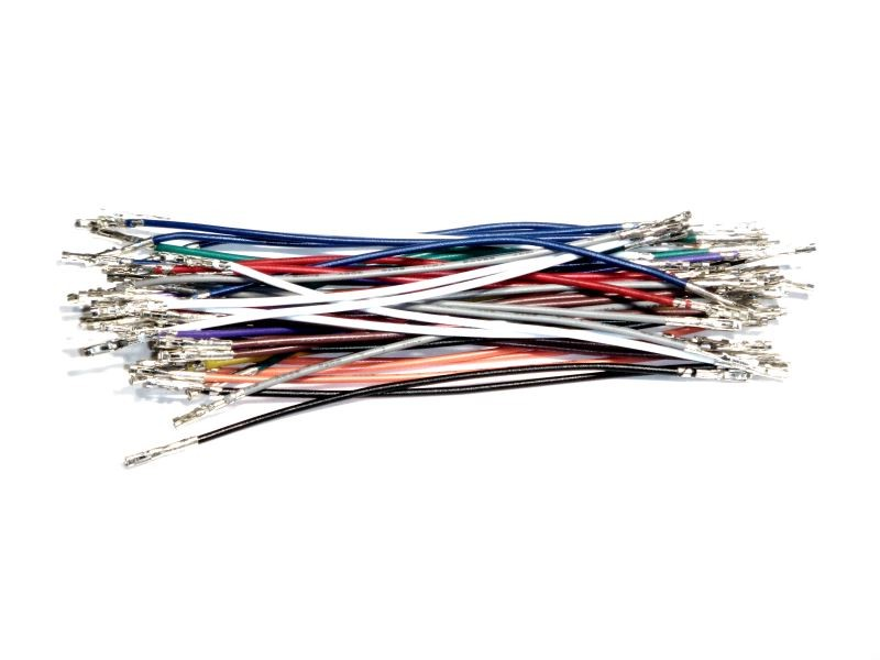 Wires with Pre-crimped Terminals 50-Piece Assortment Female-Female 3""