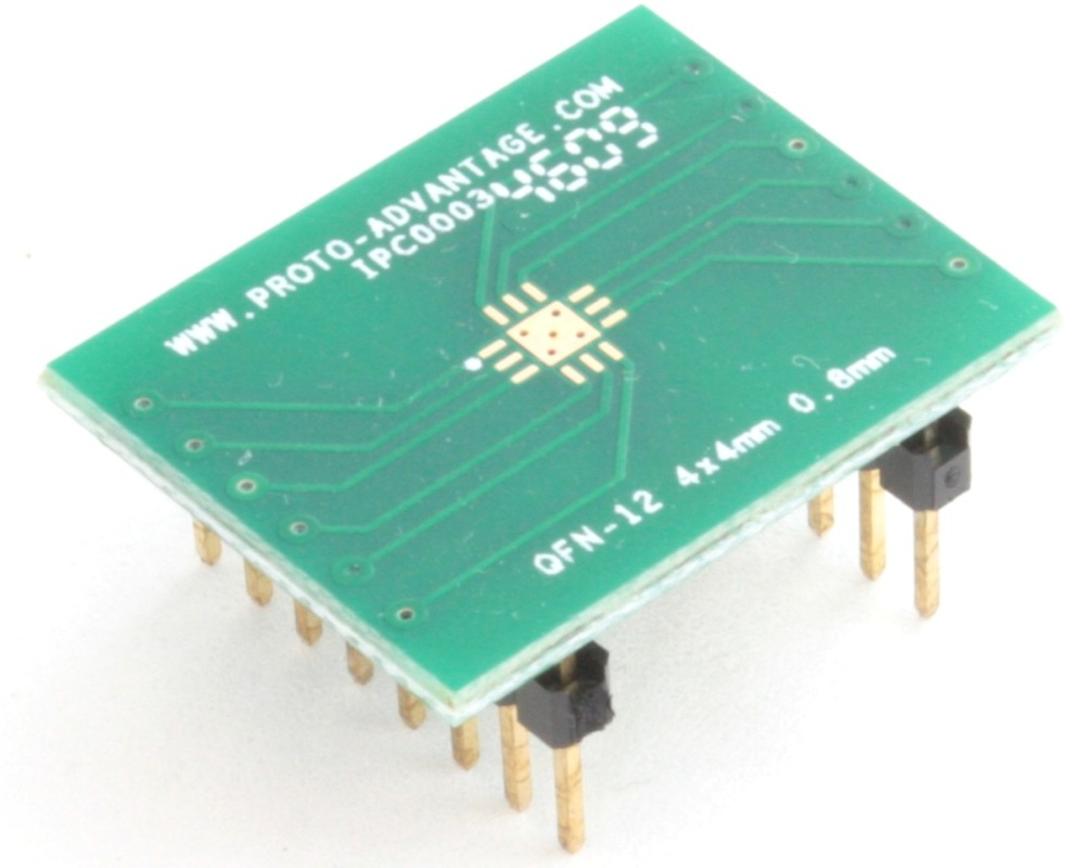 QFN-12 to DIP-16 SMT Adapter (0.8 mm pitch, 4 x 4 mm body, 2.1 x 2.1 mm pad)