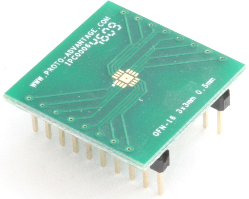 QFN-16 to DIP-20 SMT Adapter (0.5 mm pitch, 3 x 3 mm body, 1.5 x 1.5 mm pad)