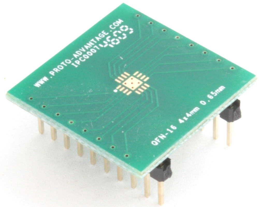 QFN-16 to DIP-20 SMT Adapter (0.65 mm pitch, 4 x 4 mm body, 2.1 x 2.1 mm pad)