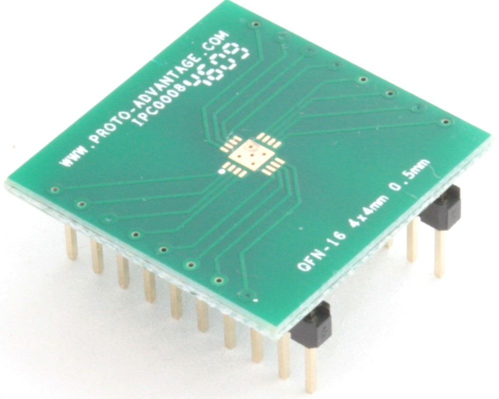 QFN-16 to DIP-20 SMT Adapter (0.5 mm pitch, 4 x 4 mm body, 2.4 x 2.4 mm pad)