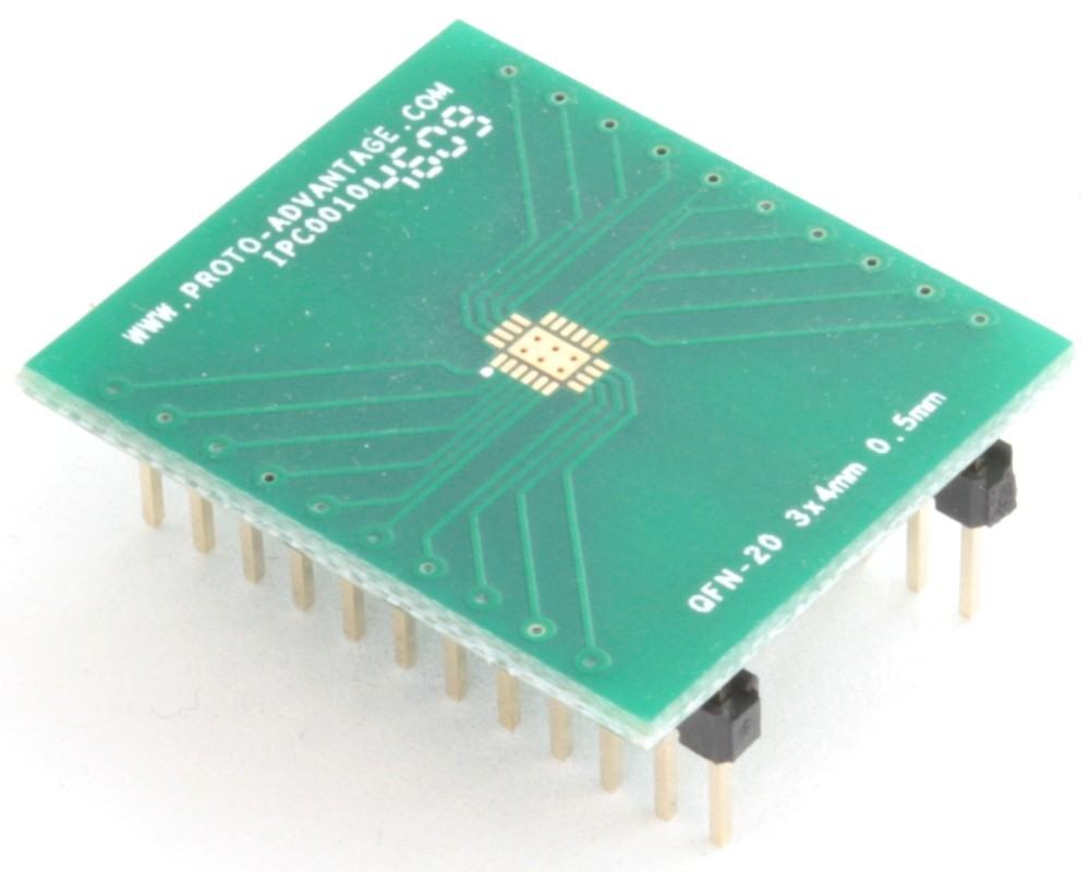 QFN-20 to DIP-24 SMT Adapter (0.5 mm pitch, 3 x 4 mm body, 1.65 x 2.65 mm pad)