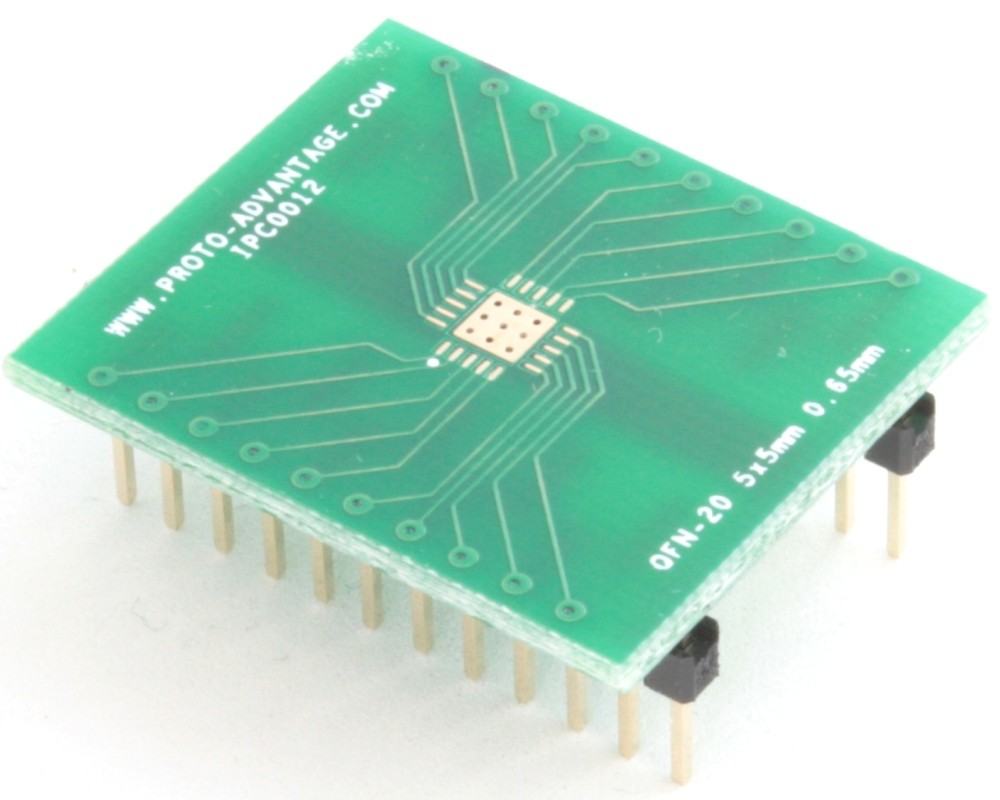 QFN-20 to DIP-24 SMT Adapter (0.65 mm pitch, 5 x 5 mm body, 3.1 x 3.1 mm pad)