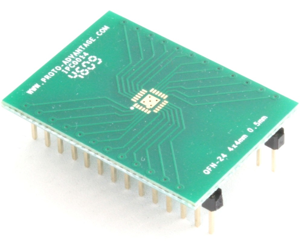QFN-24 to DIP-28 SMT Adapter (0.5 mm pitch, 4 x 4 mm body, 2.1 x 2.1 mm pad)