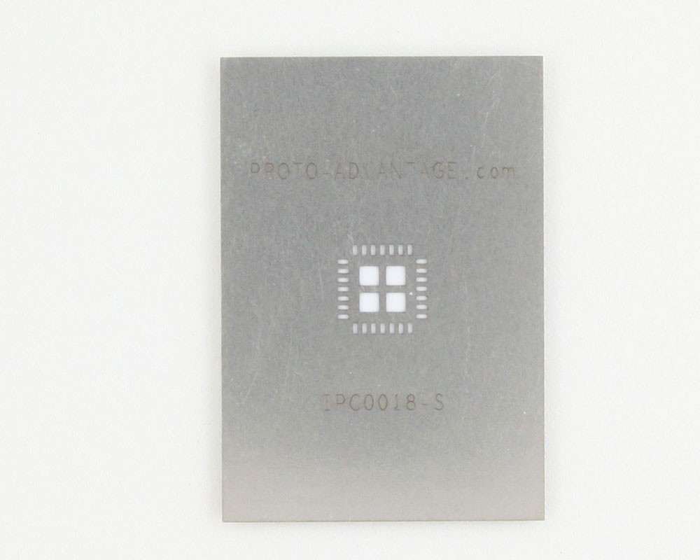 QFN-28 (0.65 mm pitch, 6 x 6 mm body, 4.1 x 4.1 mm pad) Stainless Steel Stencil