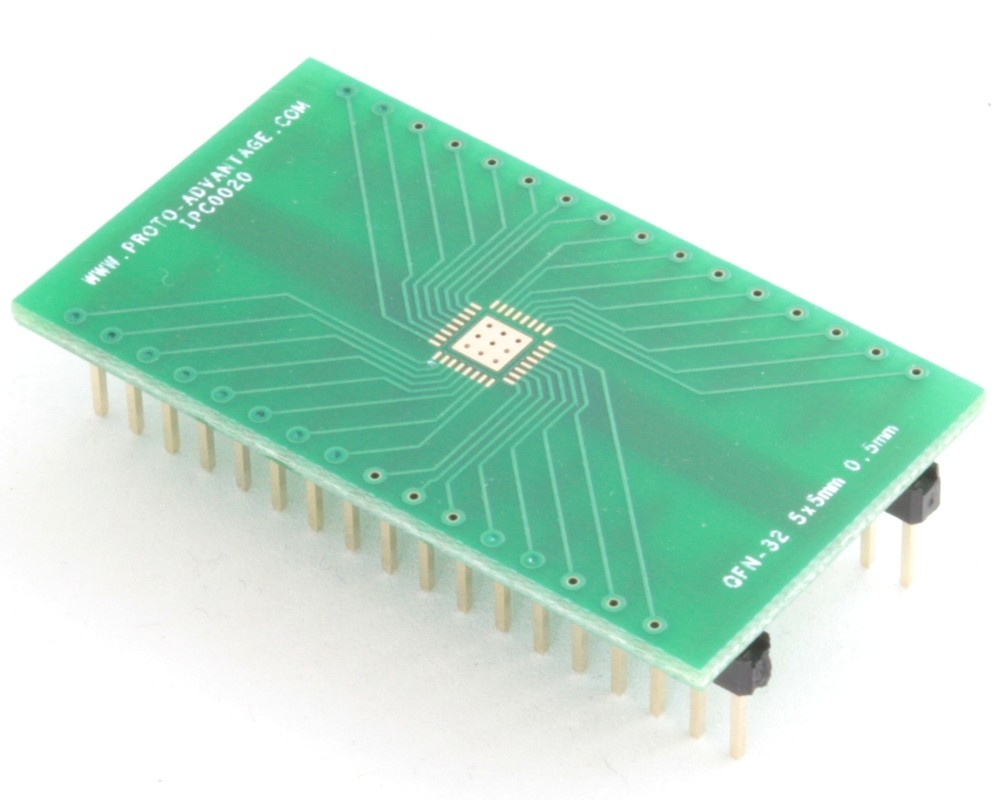 QFN-32 to DIP-36 SMT Adapter (0.5 mm pitch, 5 x 5 mm body, 3.1 x 3.1 mm pad)
