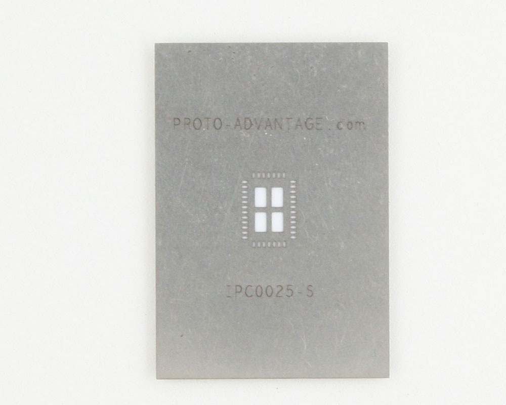 QFN-38 (0.5 mm pitch, 5 x 7 mm body, 3.5 x 5.5 mm pad) Stainless Steel Stencil