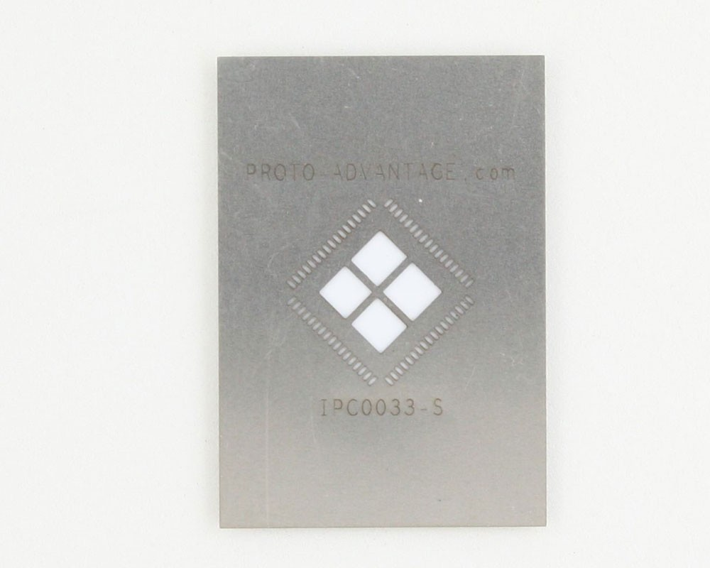 QFN-68 (0.5 mm pitch, 10 x 10 mm body, 7.7 x 7.7 mm pad) Stainless Steel Stencil