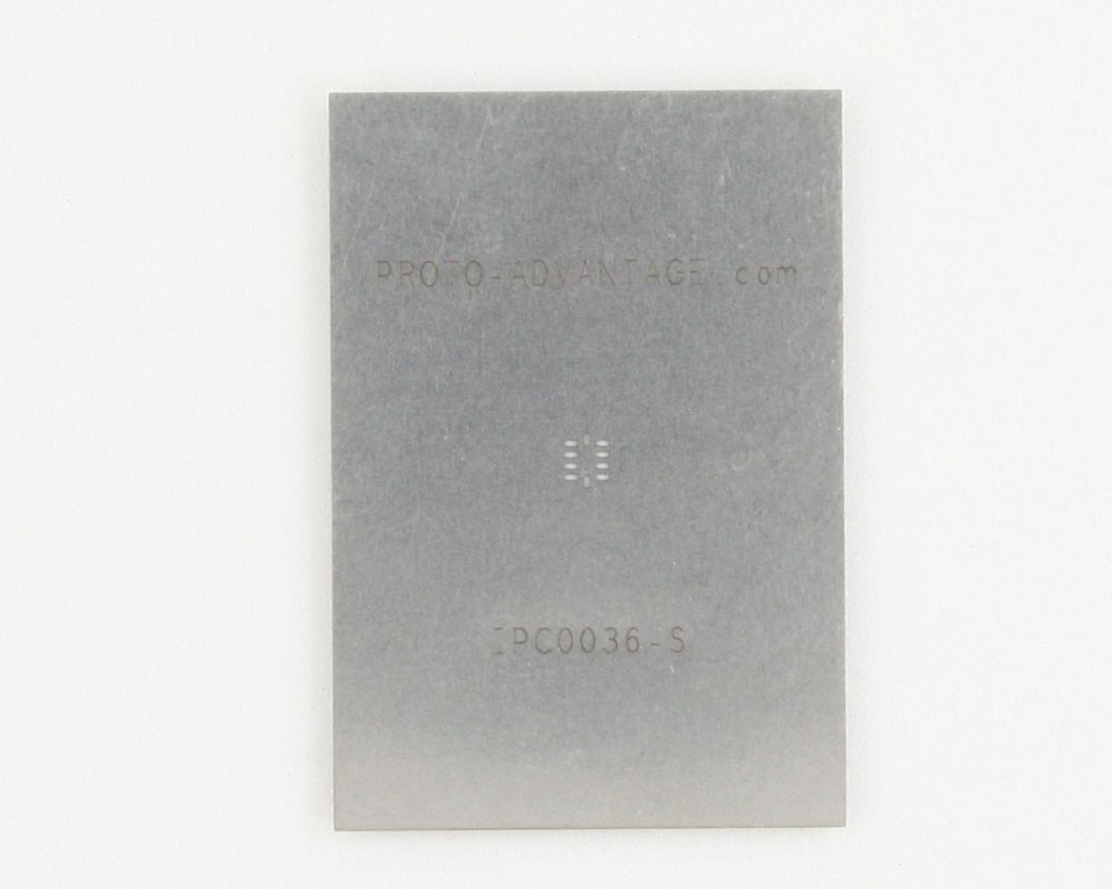 QFN-10 (0.5 mm pitch, 2.1 x 1.6 mm body) Stainless Steel Stencil