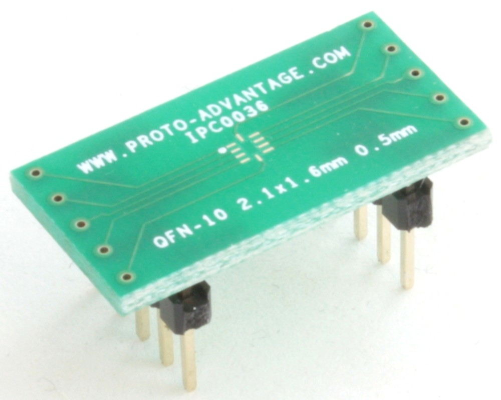 QFN-10 to DIP-10 SMT Adapter (0.5 mm pitch, 2.1 x 1.6 mm body)