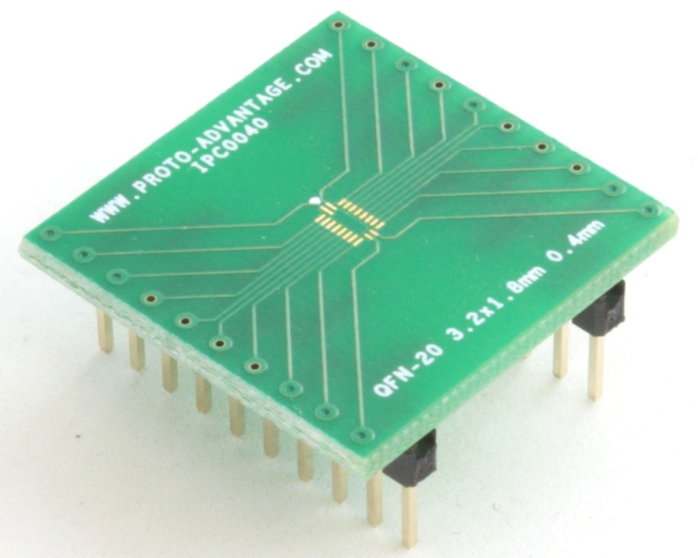 QFN-20 to DIP-20 SMT Adapter (0.4 mm pitch, 3.2 x 1.8 mm body)