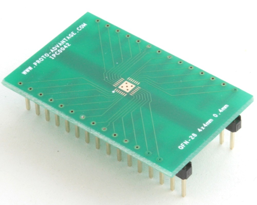 QFN-28 to DIP-32 SMT Adapter (0.4 mm pitch, 4 x 4 mm body, 2.4 x 2.4 mm pad)