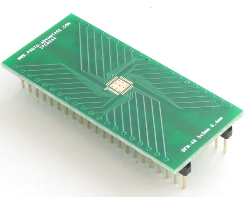 QFN-40 to DIP-44 SMT Adapter (0.4 mm pitch, 5 x 5 mm body, 3.5 x 3.5 mm pad)