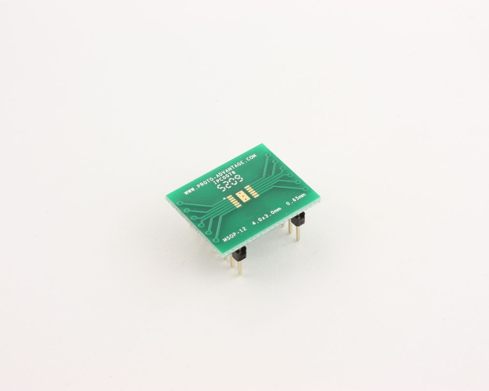 MSOP-12 to DIP-16 SMT Adapter (0.65 mm pitch, 4.0 x 3.0 mm body)