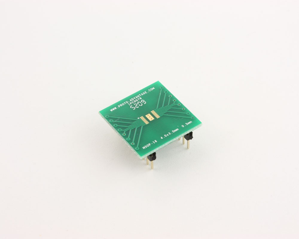 MSOP-16 to DIP-20 SMT Adapter (0.5 mm pitch, 4.0 x 3.0 mm body)