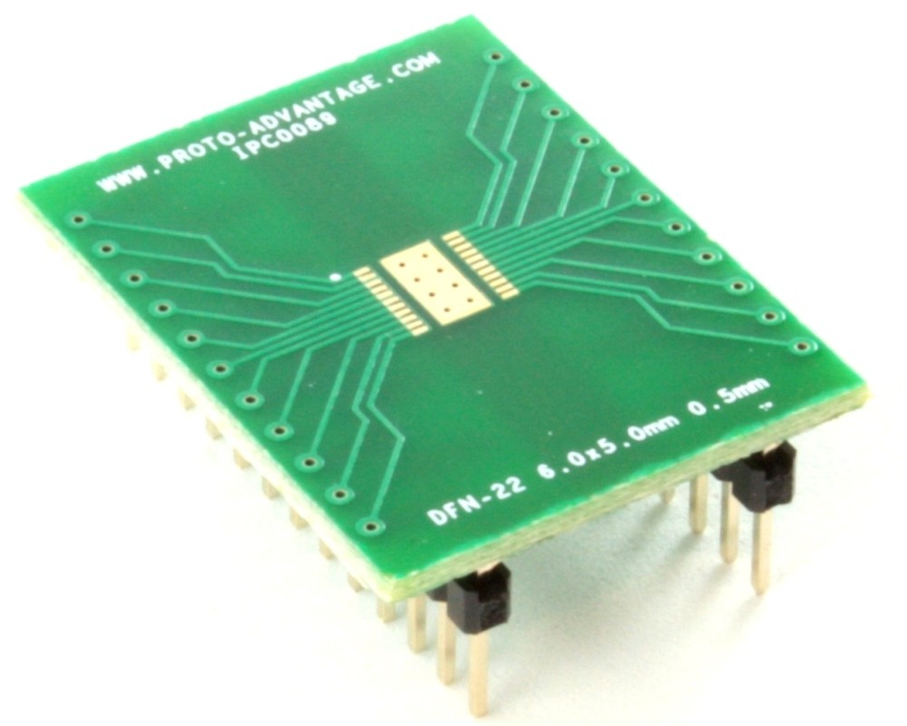 DFN-22 to DIP-26 SMT Adapter (0.5 mm pitch, 6.0 x 5.0 mm body)