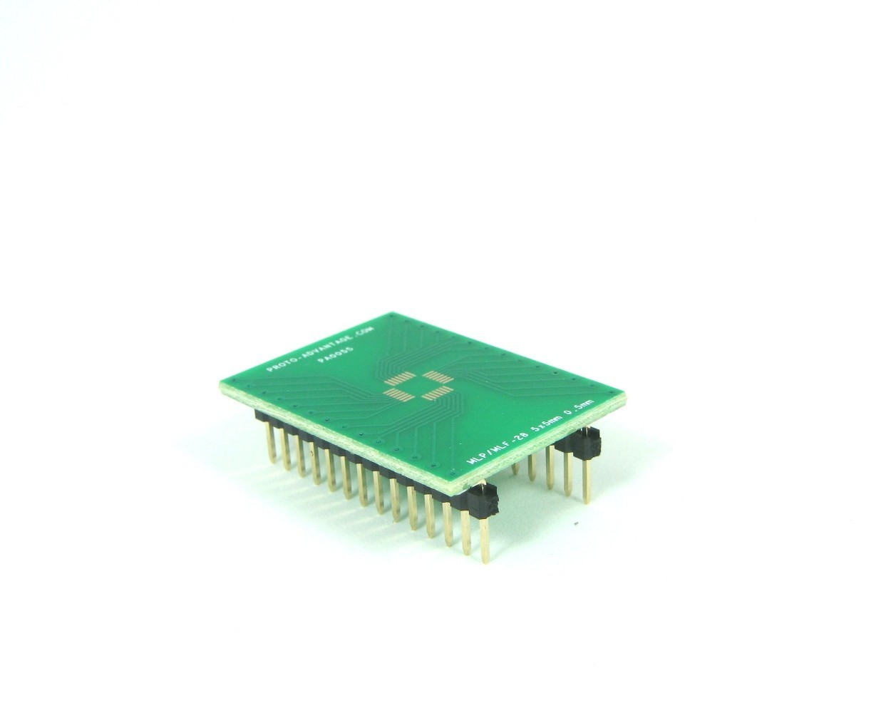 MLP/MLF-28 to DIP-28 SMT Adapter (0.5 mm pitch, 5 x 5 mm body)
