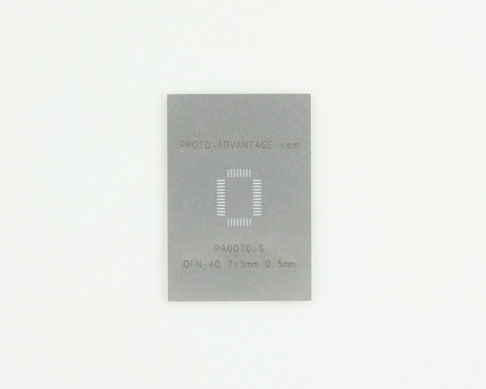 QFN-40 (0.5 mm pitch, 7 x 5 mm body) Stainless Steel Stencil